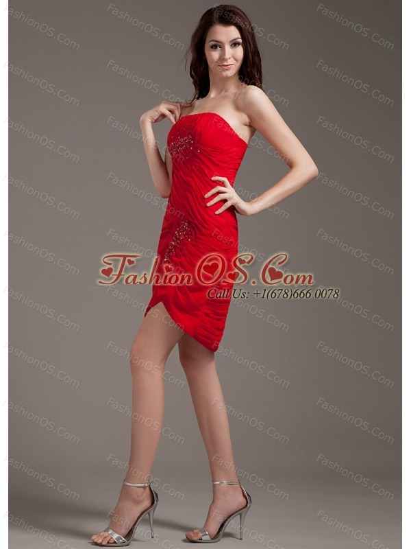Beading Decorate Bodice Strapless Red Chiffon Mini-length 2013 Prom Dress