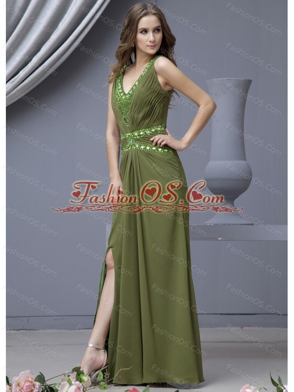 Beading Decorate Bodice V-neck High Slit Olive Green Chiffon 2013 Prom Dress Floor-length