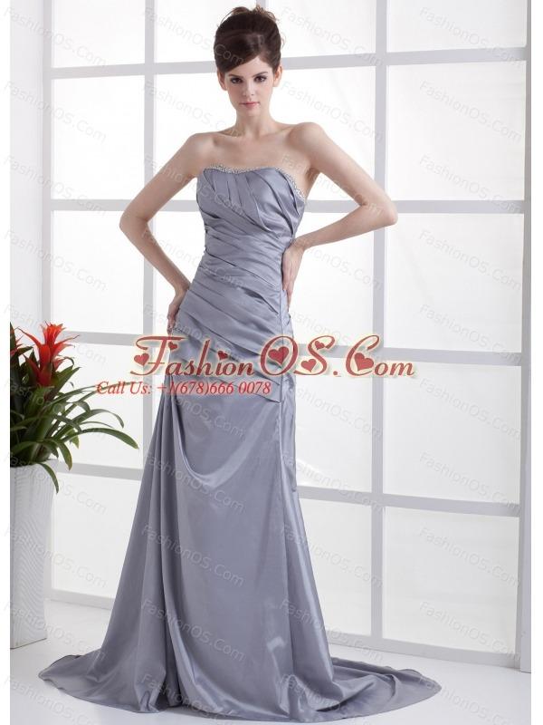 Beading Decorate Bust Grey Taffeta Brush Train 2013 Prom Dress