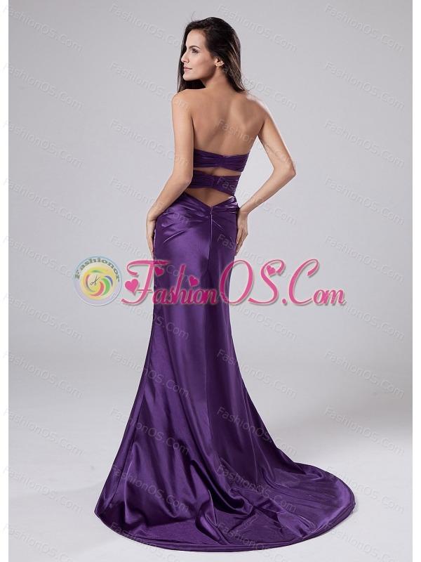 Beading Elastic Woven Satin Column Sweetheart Brush/Sweep Prom Dress Purple