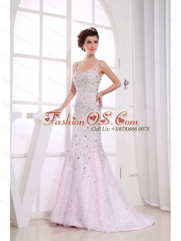 Beading Over Skirt Mermaid Spaghetti Straps Light Pink Brush Train Prom Dress For 2013
