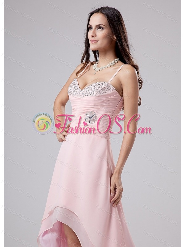 Beading Spaghetti Straps Empire Chiffon High-low Prom Dress Pink