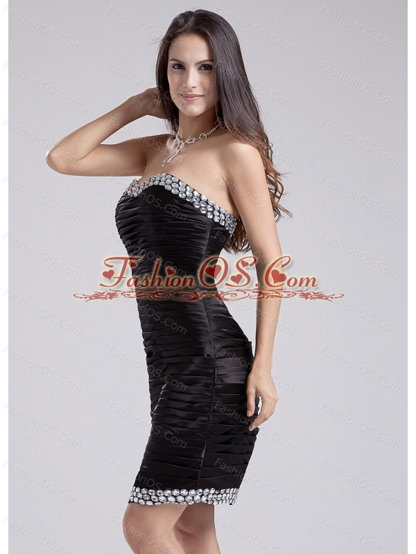 Beading Strapless Column Knee-length Taffeta Prom Dress Black