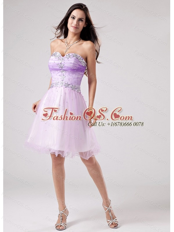 Beautiful Lavender Prom Cocktail Dress Beaded Decorate Bust Sweetheart Mini-length In 2013