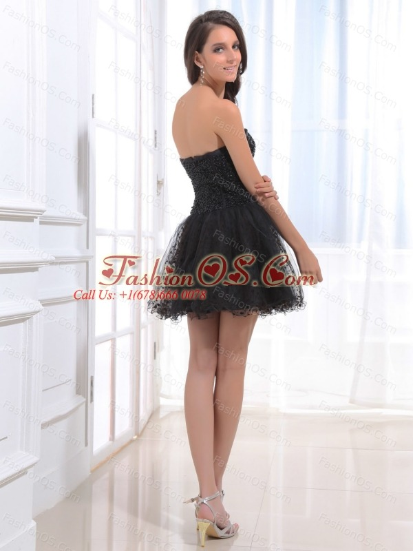 Black Beaded Decorate Bodice and Sweetheart For Prom Dress With Tulle