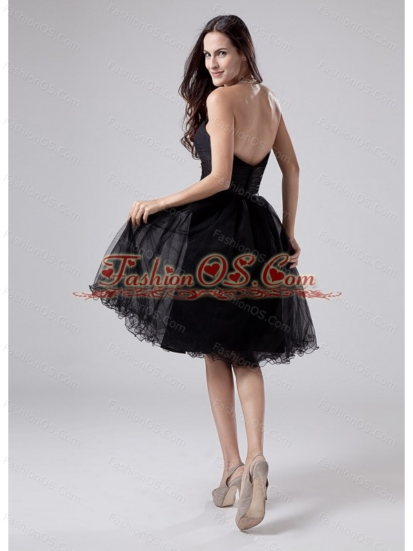 Black Sweetheart Modest 2013 Prom Dress With Beading and Ruch Organza