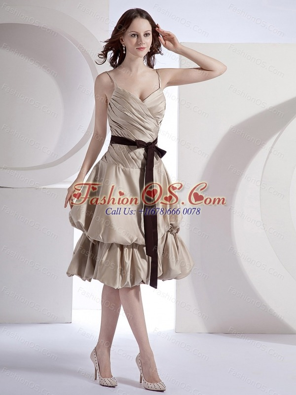 Champagne Taffeta Black Sash Decorate Bodice Spaghetti Straps Knee-length 2013 Bridsemaid Dress