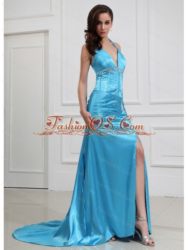 High Slit Column Beading Halter Elastic Woven Satin Prom Dress Brush / Sweep Blue