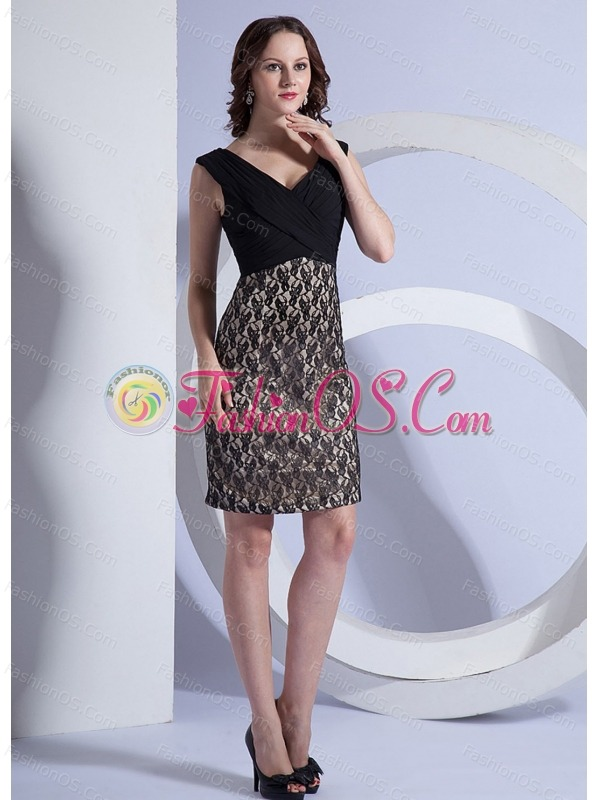 Lace Stylish V-neck Mini-length Column Prom Dress Black