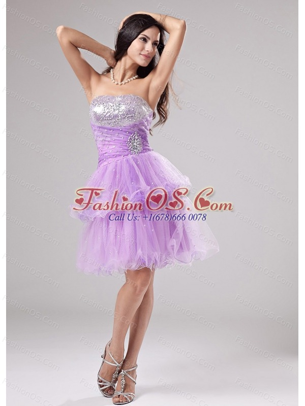 Lovely Lavender Strapless Prom Dress With Beading and Ruch With Organza In 2013