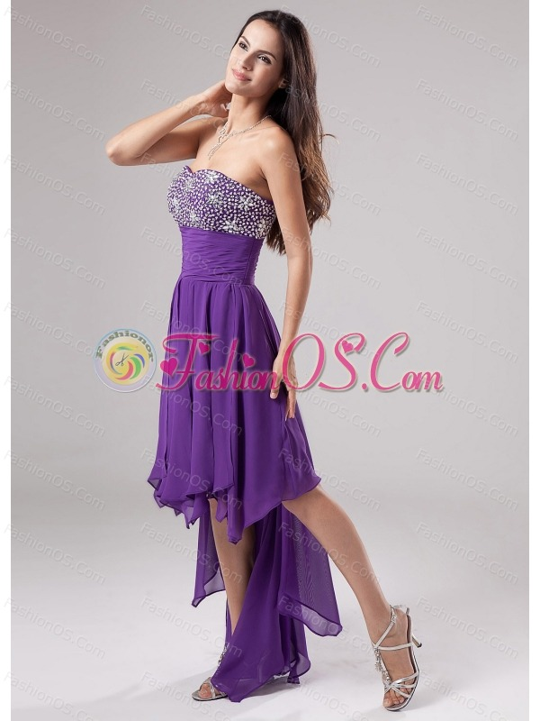 Lovely Purple Prom Dress Strapless Beaded Decorate and Ruch In 2013