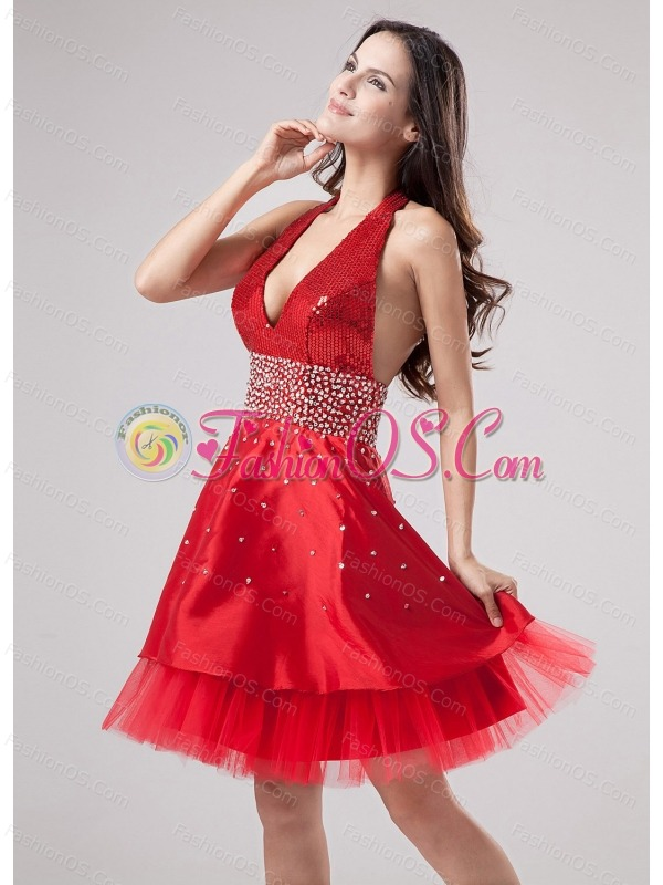 Luxurious Red Halter Prom Dress Beaded Decorate With Satin and Tulle