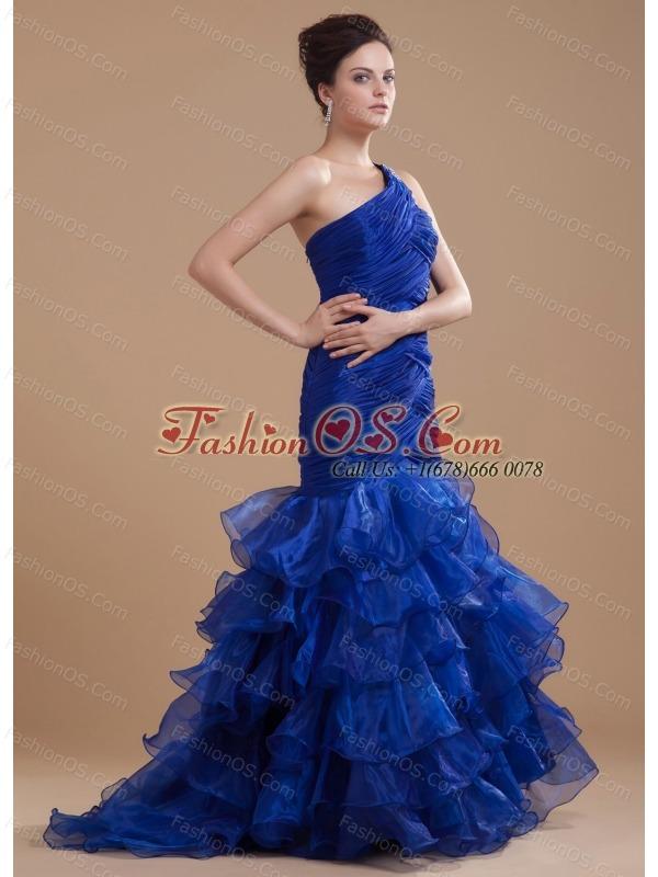 Mermaid Organza One Shoulder Brush/Sweep Ruffles Prom Dress Royal Blue