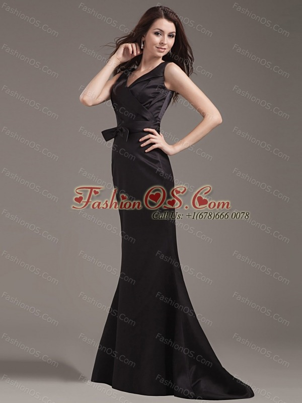 Mermaid Prom Dress With V-neck Bowknot and Ruch