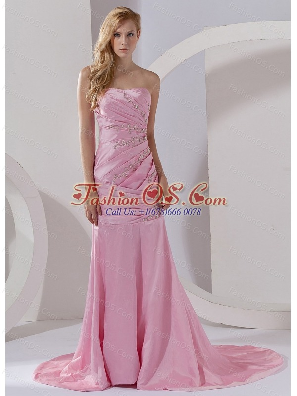 Mermaid Strapless Taffeta Prom Dress Pink Court Train Beading