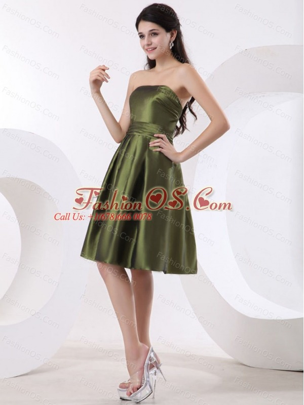 Olive Green Bridesmaid Dress With Strapless and Knee-length