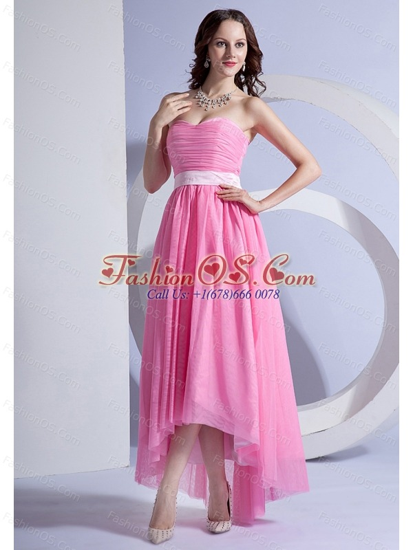 Pink Chiffon High-low Prom Dress For 2013 Sweetheart Neckline
