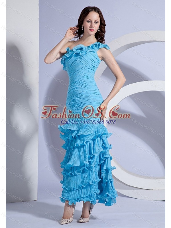 Pleat Decorate Bodcie One Shoulder Aqua Blue Ankle-length 2013 Prom Dress