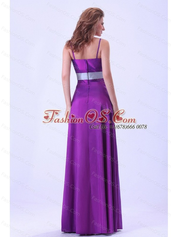 Purple Bridemaid Dress With Belt Spaghetti Straps Floor-length