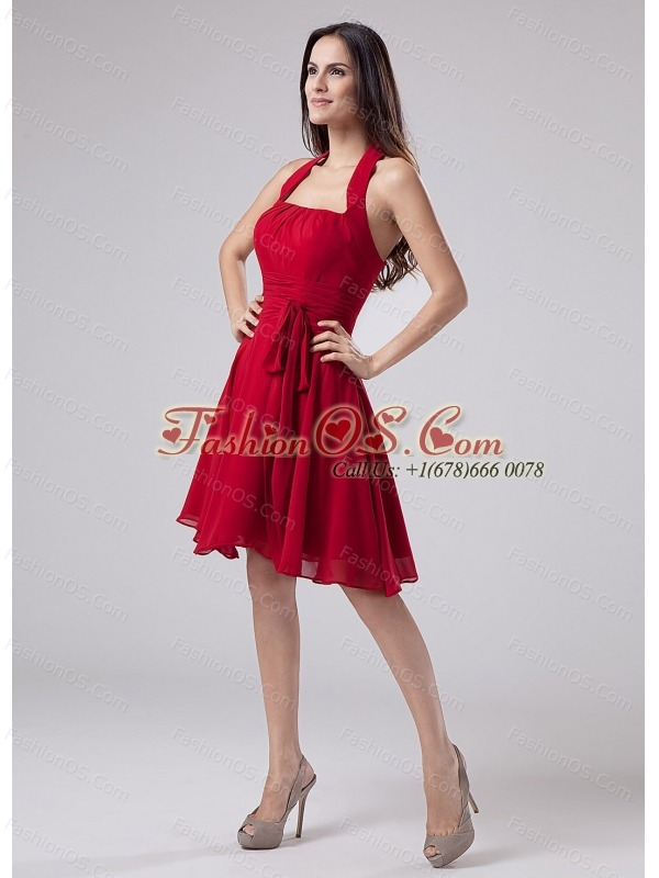 Red Halter Chiffon Knee-length A-Line Prom Dress With Knee-length