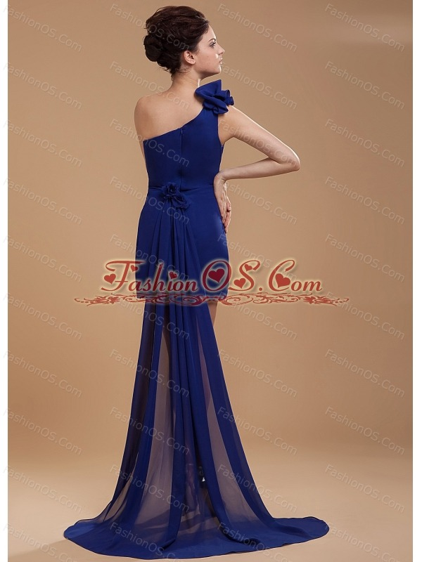Royal Blue One Shoulder Prom / Cocktail Dress With Hand Made Flower Watteau Train