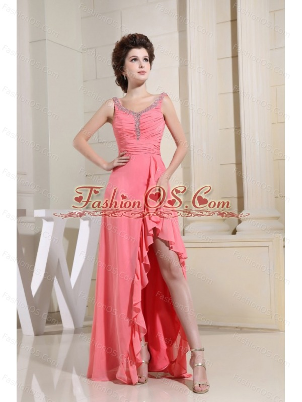 Ruched Bodice and Beaded Decorate Straps For High-low Watermelon Prom Dress