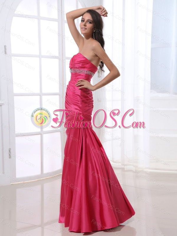 Ruched Bodice and Beading For Prom Dress With Hot Pink and Floor-length