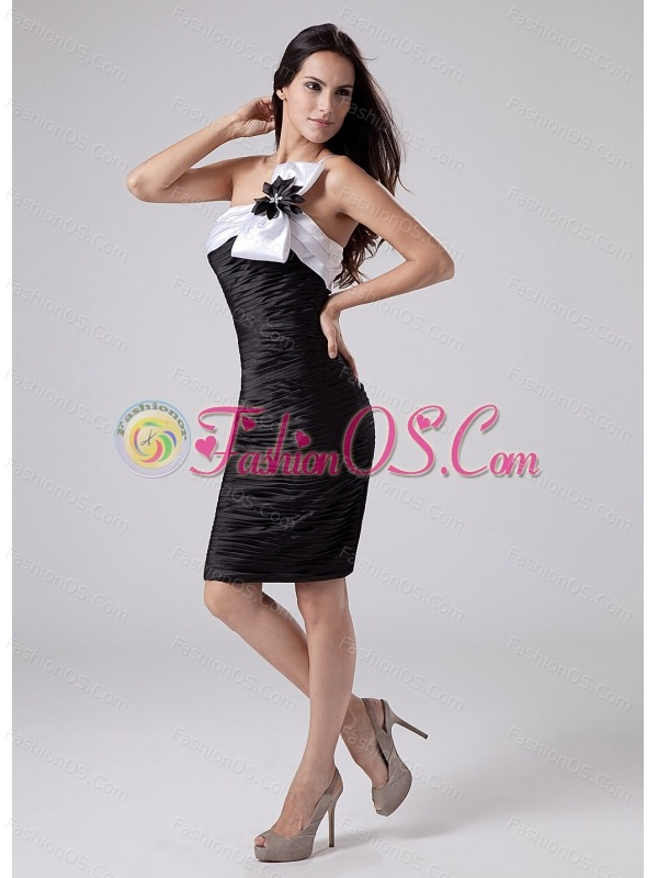 Ruched Column One Shoulder Taffeta Knee-length Prom Dress