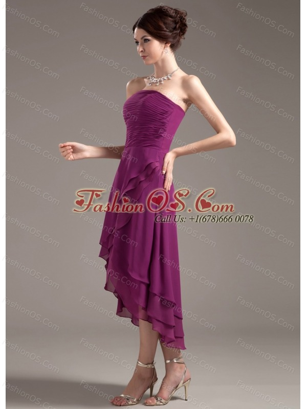 Ruching Decorate Bodice High-low Dark Purple Strapless