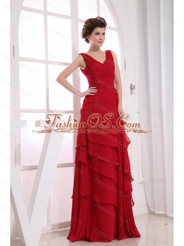 Ruffled Layers Wine Red Chiffon V-neck 2013 Prom Dress Floor-length