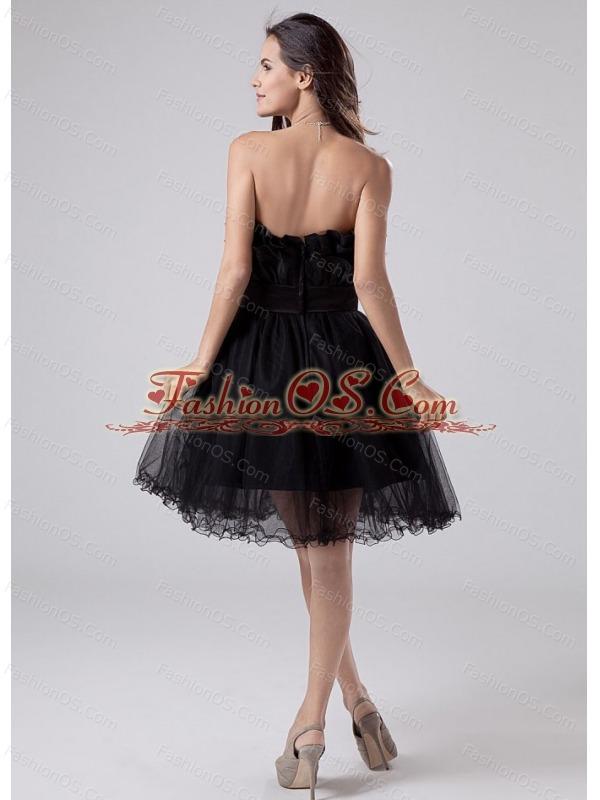 Sashes / Ribbons A-Line Strapless Mini-length Prom Dress Black Tulle