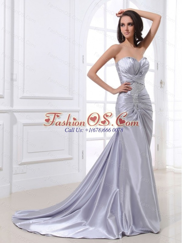 Silver Custom Made Prom Dress With Ruched Bodice Beading and Elastic Woven Satin