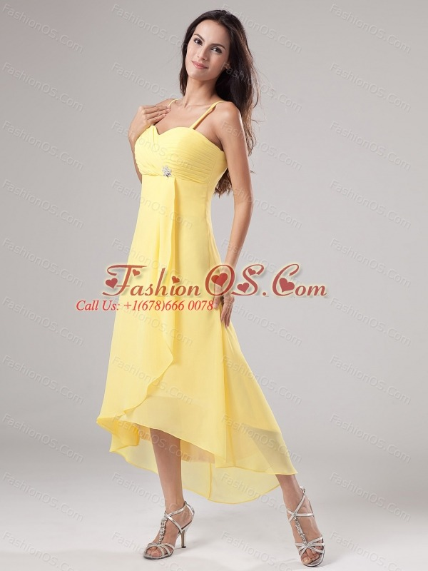 Simple Yellow Spaghetti Straps Prom Dress Beading and Ruch With Chiffon