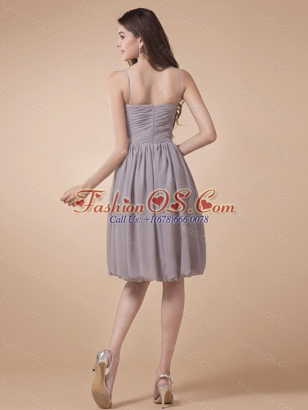 Spaghetti Straps For Grey Prom Dress With Beading Knee-length