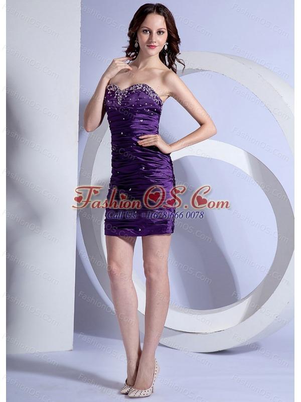 Sweetheart Column / Sheath Mini-length Prom Dress Purple Beading Taffeta