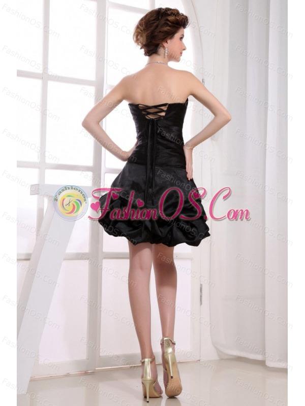 Sweetheart Neckline A-line Pick-ups Black Taffeta Mini-length 2013 Prom Dress