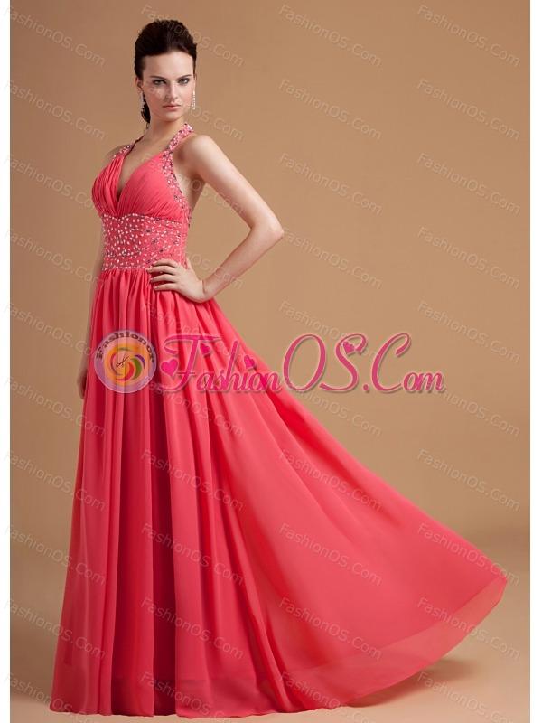 Watermelon Prom / Evening Dress With Beaded Halter Chiffon