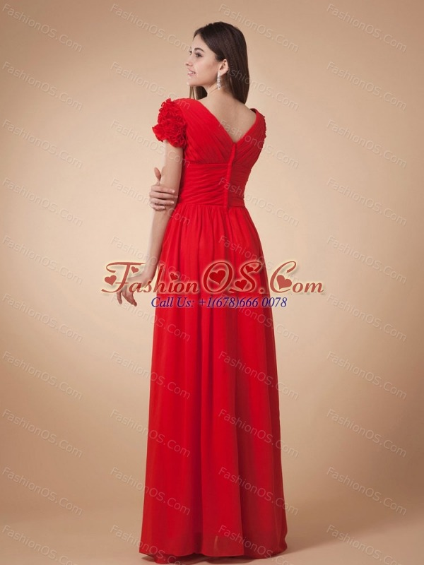 Wine Red Empire Prom Dress V-neck Short Sleeves Floor-length Chiffon With Ruch