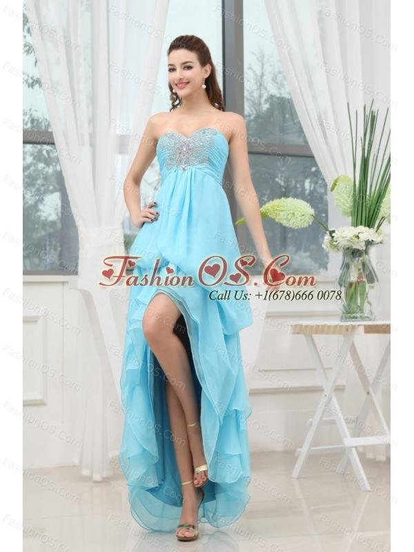 Aqua Blue Prom Dress With Appliques High-low Chiffon For Custom Made
