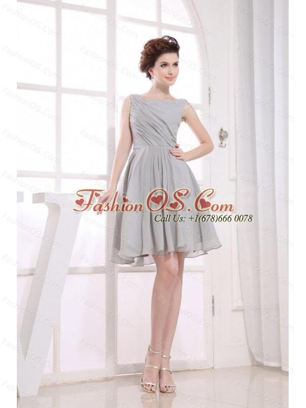 Bateau Grey knee-length Chiffon 2013 Prom Dress
