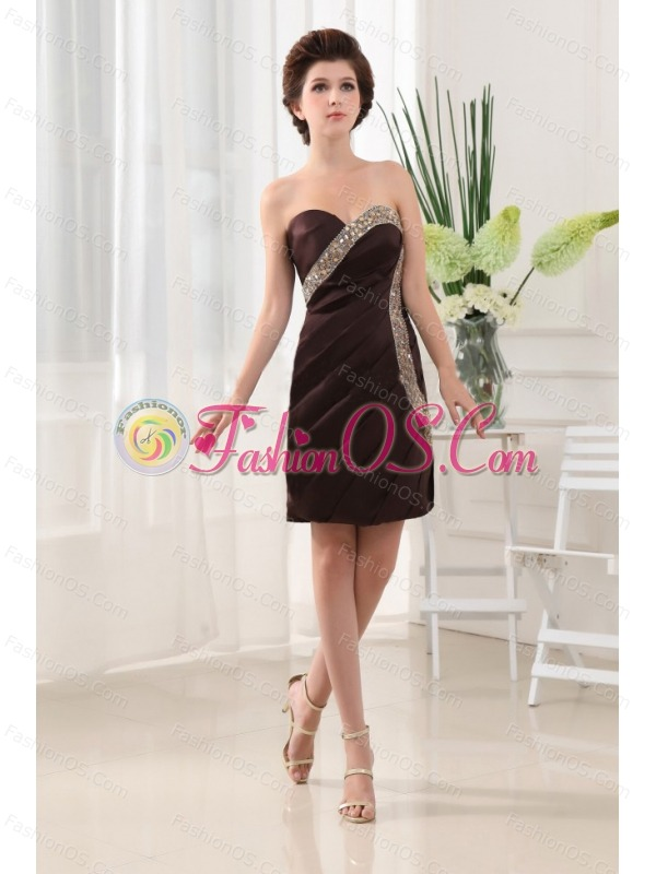 Beading Column Sweetheart Taffeta Mini-length Brown Prom Dress