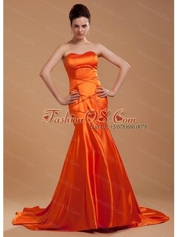 Beading Decorate Bodice Mermaid Orange Red Brush Train Sweetheart Neckline 2013 Prom Dress