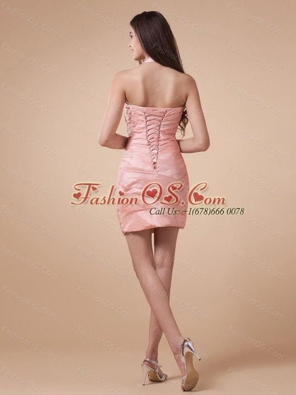 Halter and Ruched Bodice For Prom Dress With Baby Pink and Mini-length