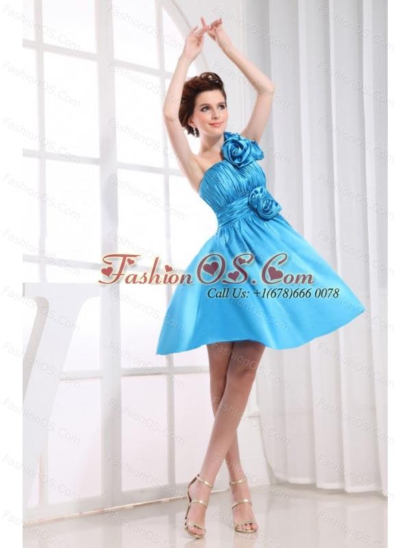 Hand Made Flowers Decorate Bodice One Shoulder Aqua Blue Knee-length Prom Dress For 2013