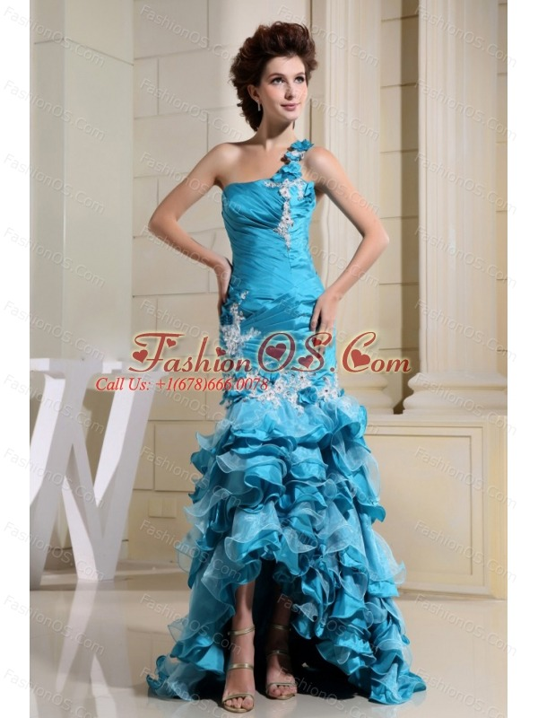 High-low Teal and Mermaid For Amazing Prom Dress With Appliques and Ruffled Layers
