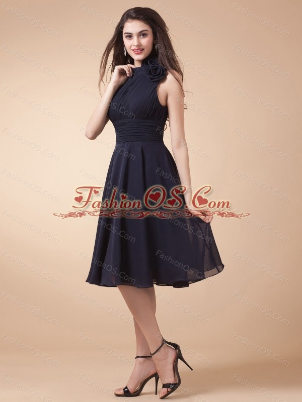 High-neck and Ruched Bodice For Custom Made Navy Blue Prom Dress