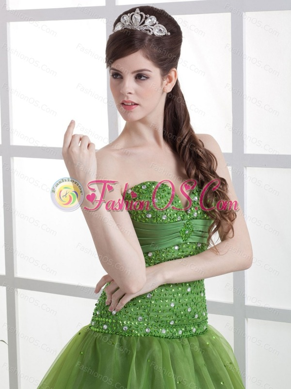 Olive Green Beaded Decorate Bust Prom Dress Sweetheart Organza