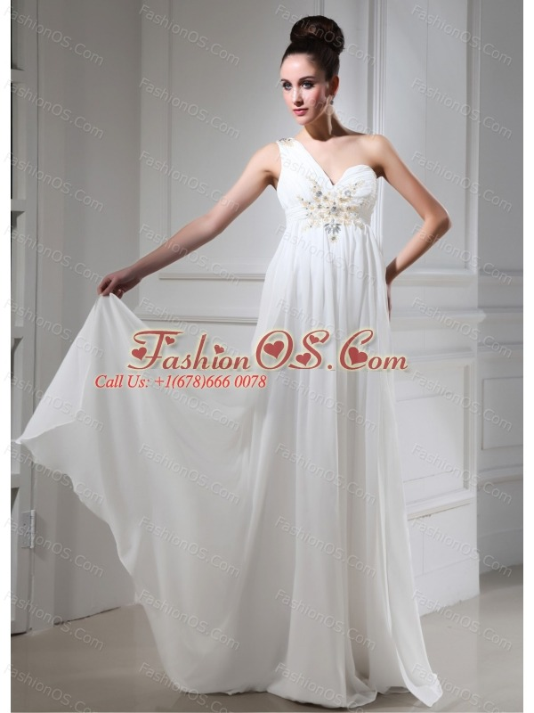 One Shoulder 2013 Prom Dress With Beaded Empire For Custom Made