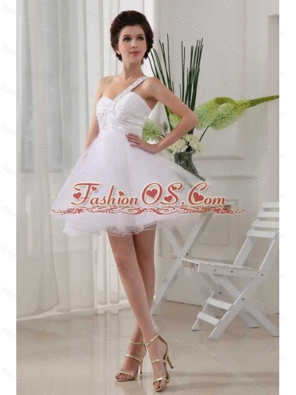 One Shoulder White and Ruch For Prom Dress With Organza Mini-length