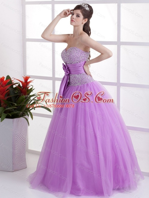 Sweet Lavender Sweetheart Prom Dress Hand Made Flower and Beaded Decorate Bust  In 2013